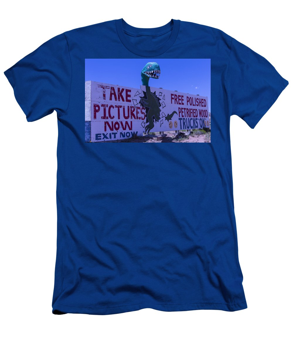 Roadside Dinosaur Men's T-Shirt (Athletic Fit) featuring the photograph Dinosaur Sign Take Pictures Now by Garry Gay