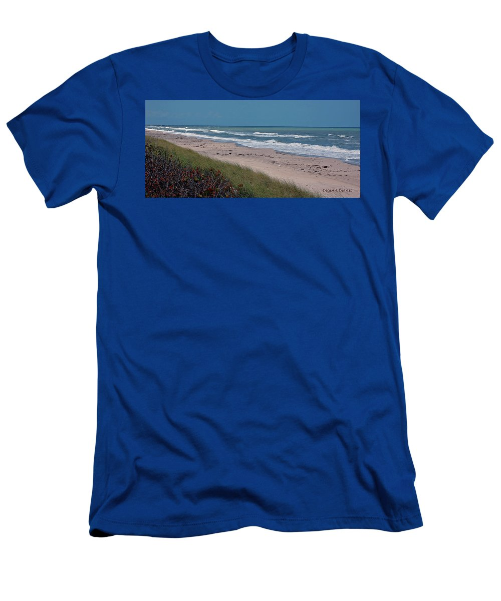 Ocean Men's T-Shirt (Athletic Fit) featuring the digital art Distant Pier by DigiArt Diaries by Vicky B Fuller