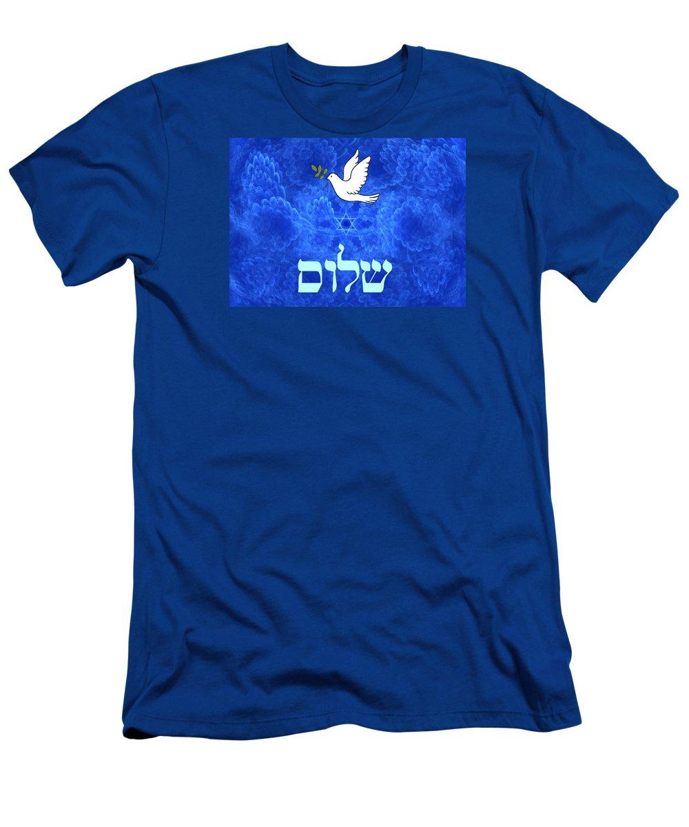 Shalom Peace Hebrew Dovestar Of David magen David Blue Fractal Men's T-Shirt (Athletic Fit) featuring the digital art Dove - Shalom by David Devoe