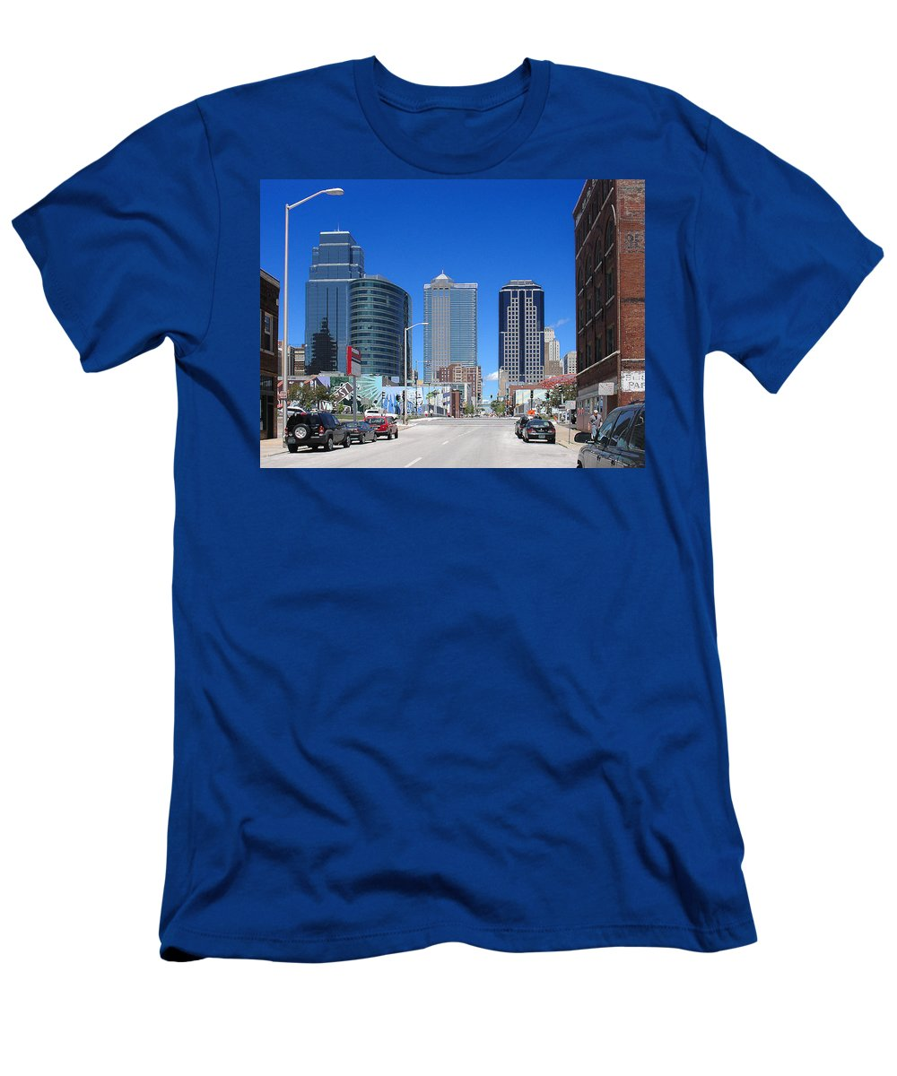 City Men's T-Shirt (Athletic Fit) featuring the photograph Downtown Kansas City by Steve Karol