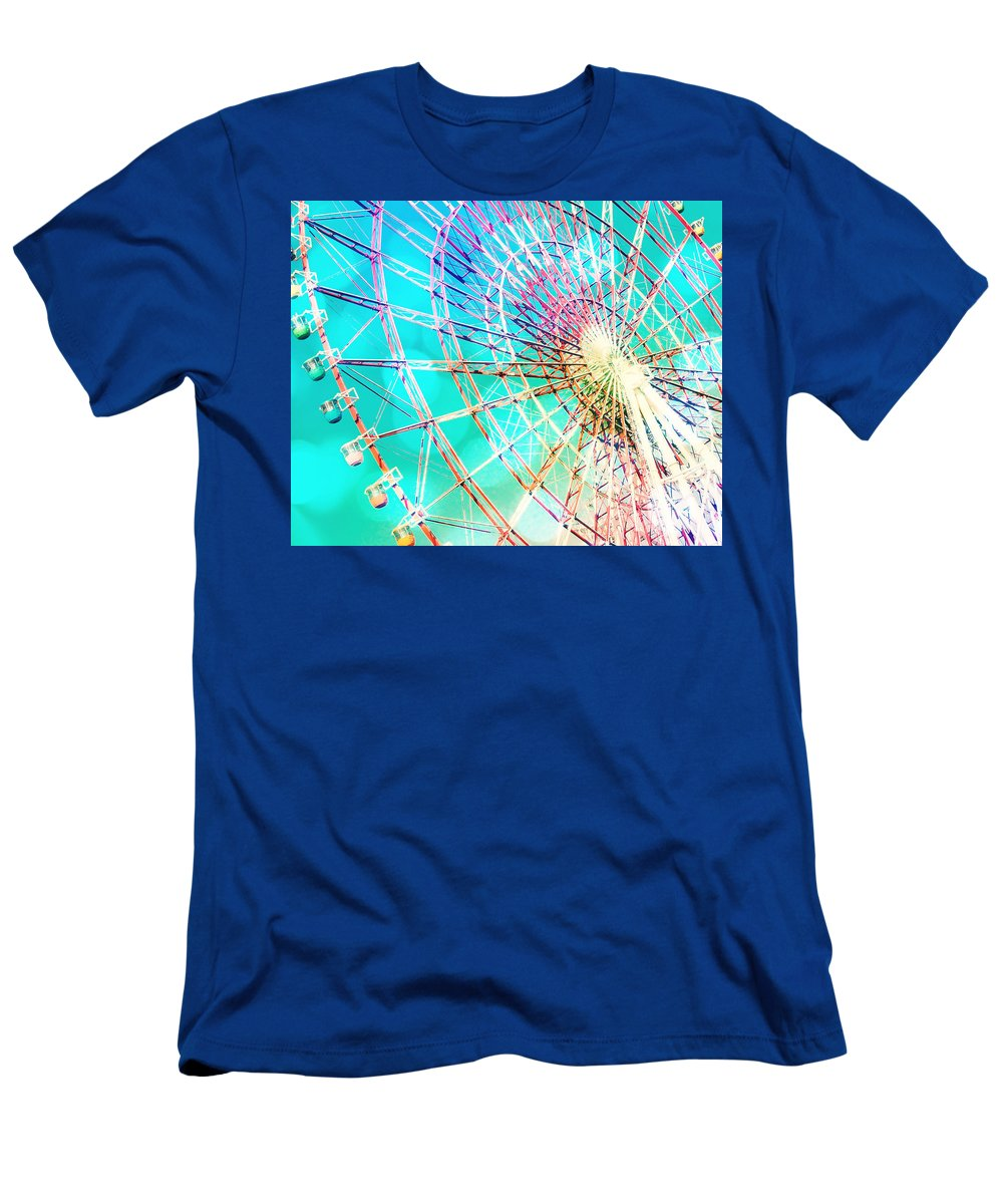 Carnival Men's T-Shirt (Athletic Fit) featuring the photograph Dreamy Pastel Ferris Wheel by Delphimages Photo Creations