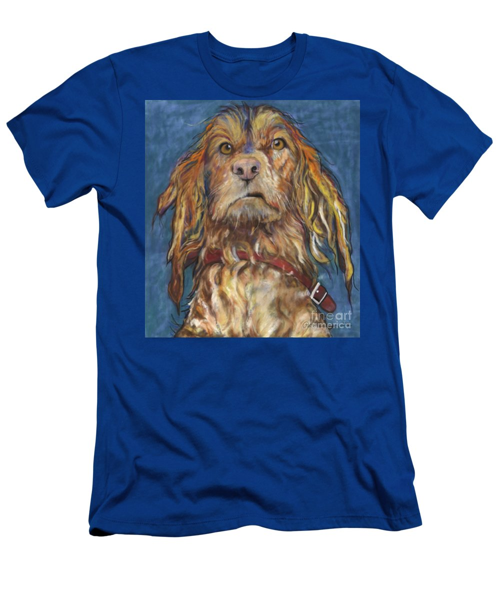 Golden Retriever Painting T-Shirt featuring the pastel Drenched by Pat Saunders-White