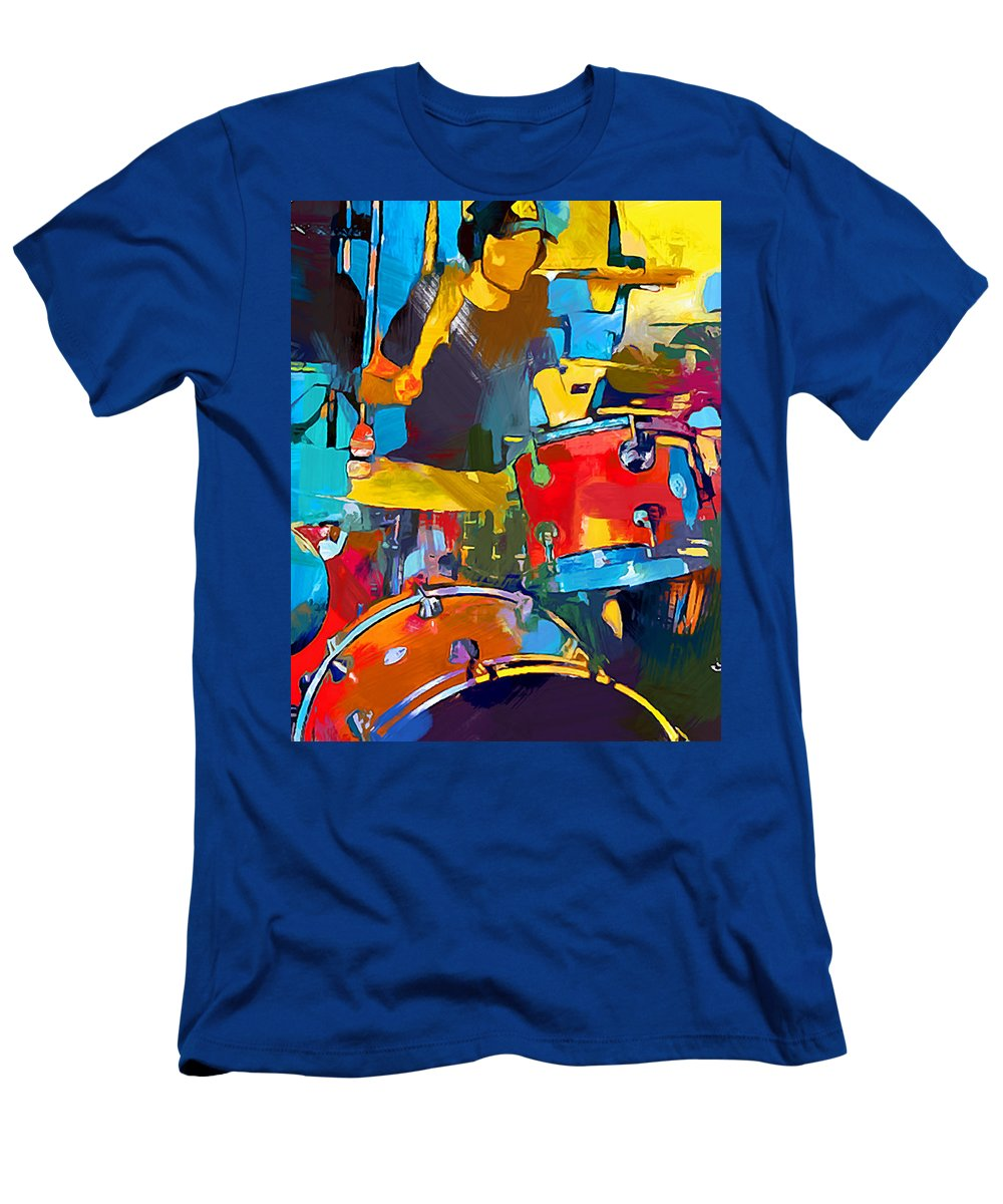 Drummer T-Shirt featuring the painting Drummer by Chris Butler