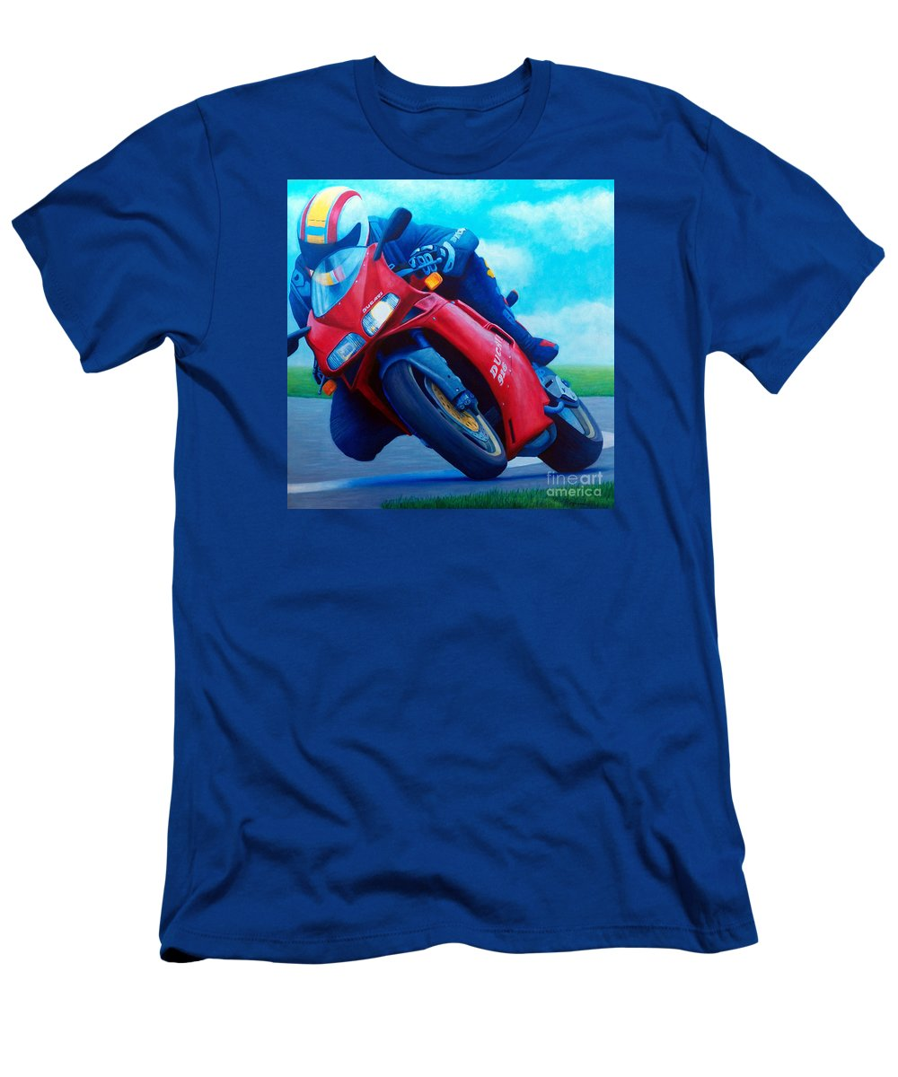 Motorcycle Men's T-Shirt (Athletic Fit) featuring the painting Ducati 916 by Brian Commerford