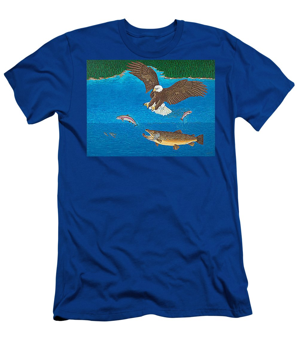 Art Print Prints Giclee Canvas Framed Brown Trout Eagle Lake Mountain Forest Nature Wildlife Wall Men's T-Shirt (Athletic Fit) featuring the painting Eagle Trophy Brown Trout Rainbow Trout Art Print Blue Mountain Lake Artwork Giclee Birds Wildlife by Baslee Troutman