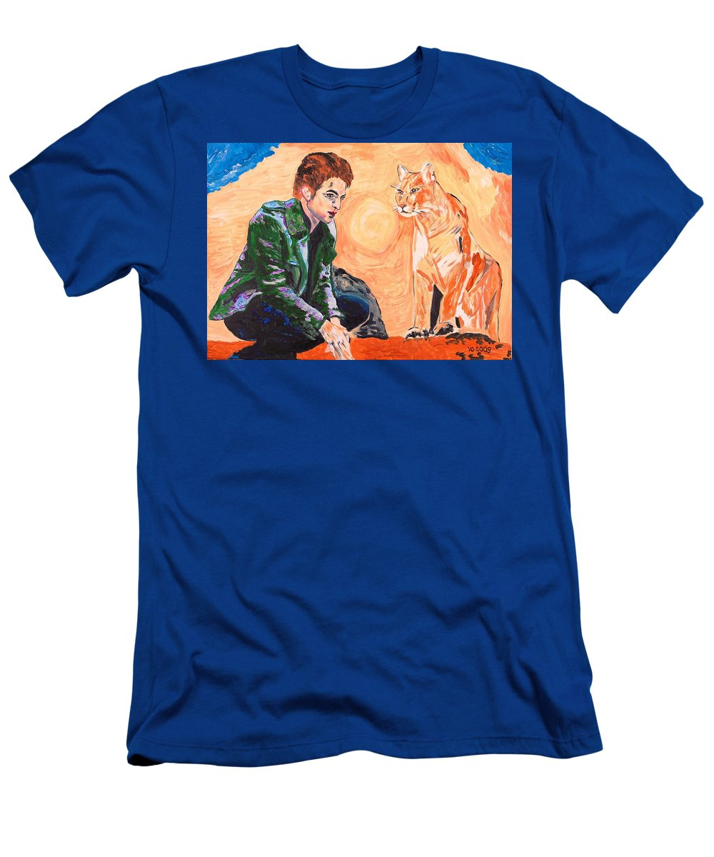 Edward Men's T-Shirt (Athletic Fit) featuring the painting Edward Cullen And His Diet by Valerie Ornstein