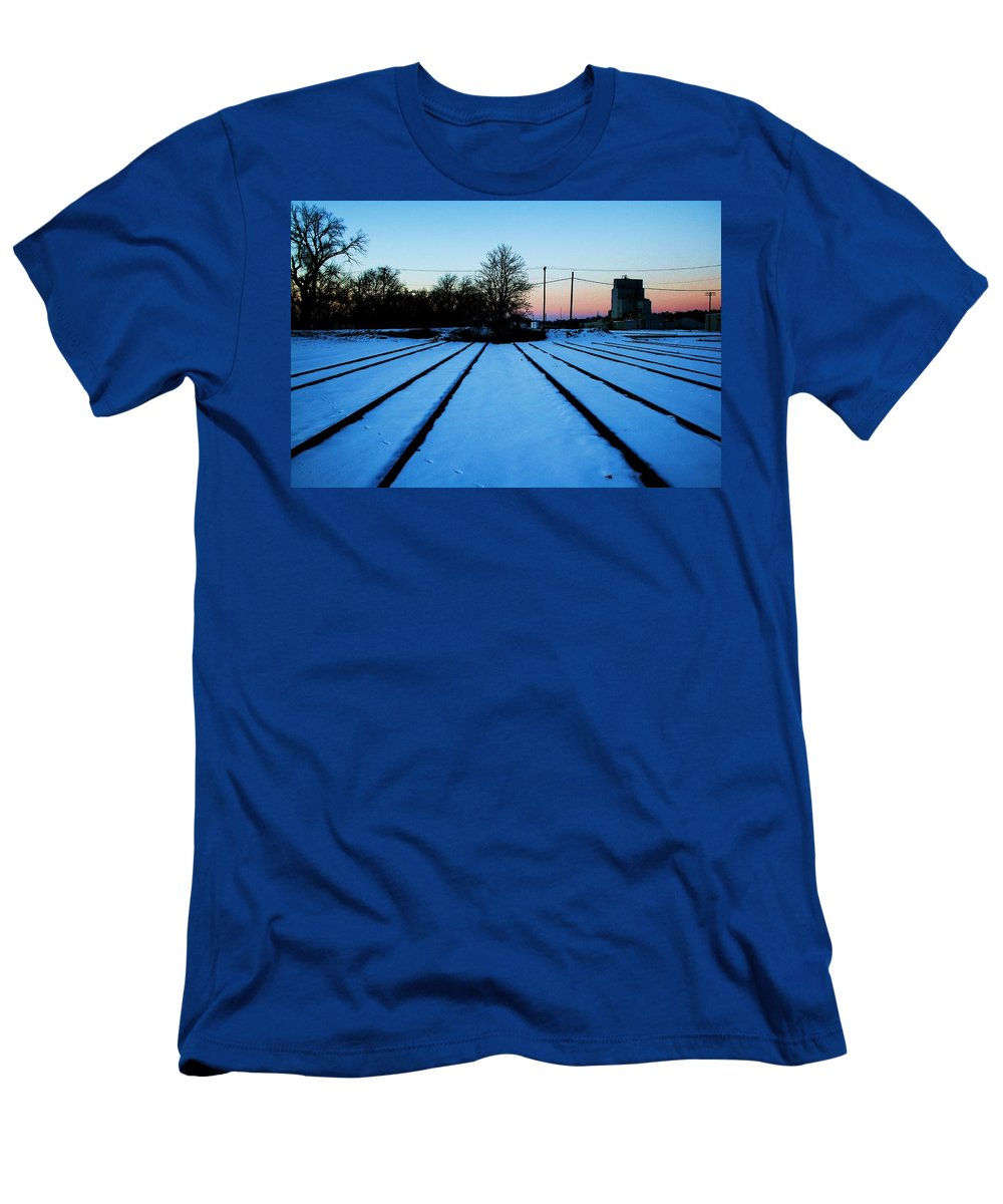 Sunset Men's T-Shirt (Athletic Fit) featuring the photograph End Of The Tracks by Angus Hooper Iii
