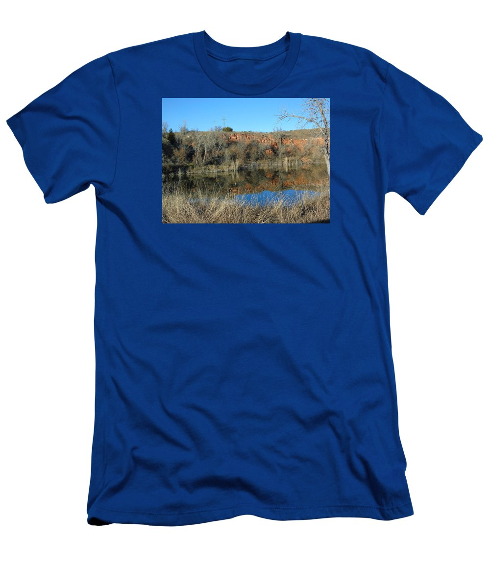 Beautiful Reflection Of The Tx Landscape Men's T-Shirt (Athletic Fit) featuring the photograph Ending / Beginning ? by Shellda Patino