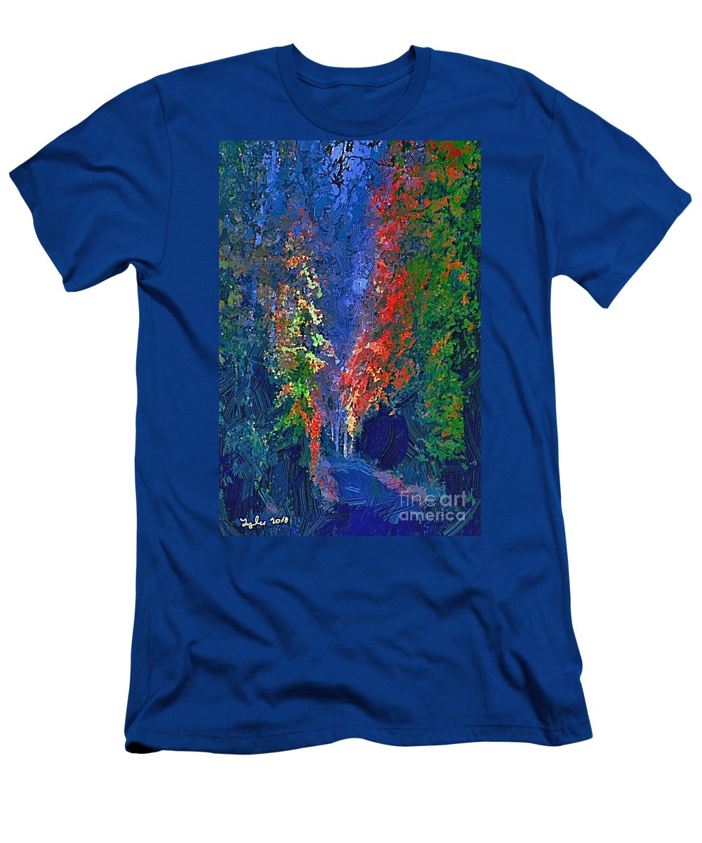 Country Men's T-Shirt (Athletic Fit) featuring the painting English Country Lane At Night 1d by B W Tyler