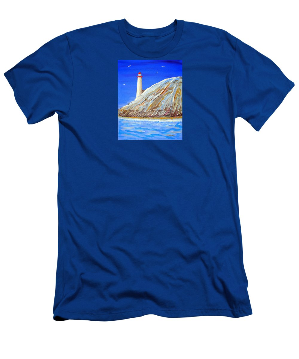 Impressionist Painting Men's T-Shirt (Athletic Fit) featuring the painting Entering The Harbor by J R Seymour
