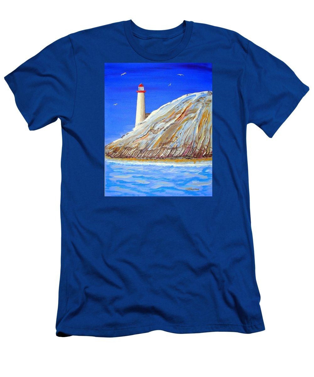 Lighthouse Men's T-Shirt (Athletic Fit) featuring the painting Entering The Harbor by J R Seymour