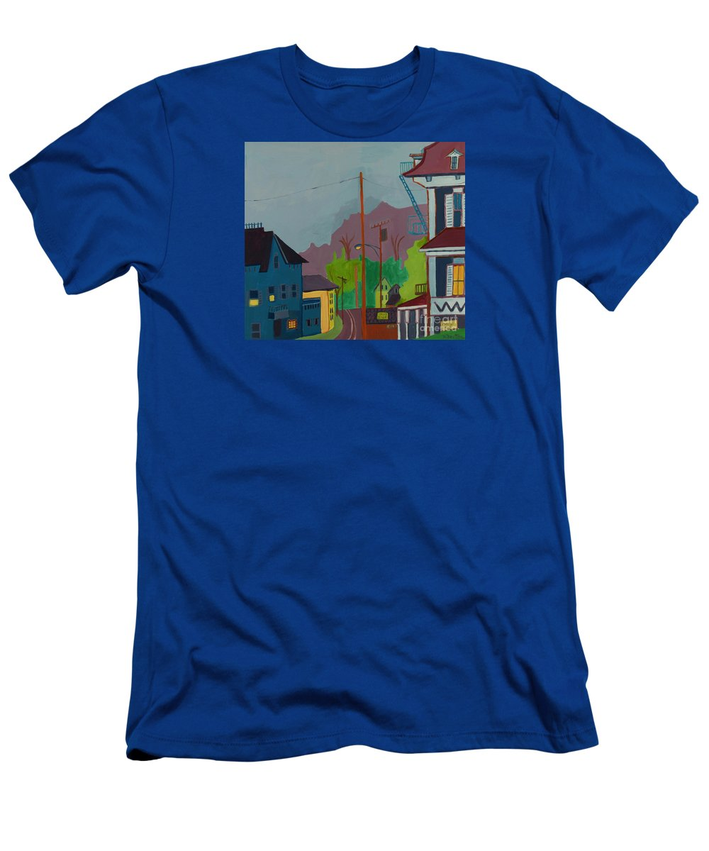 Town T-Shirt featuring the painting Evening in Town Chelmsford MA by Debra Bretton Robinson