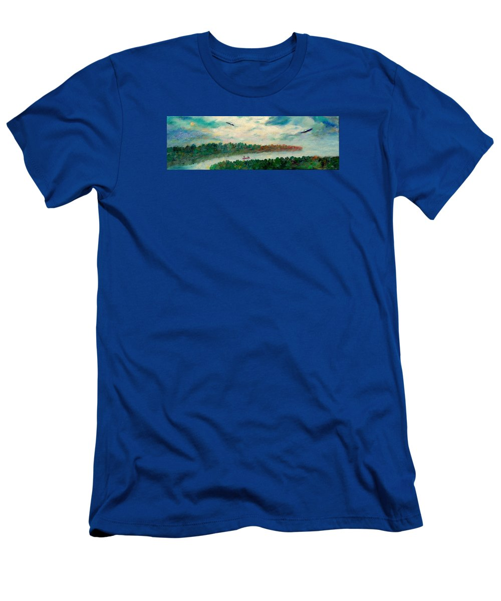 Canoeing On The Big Canadian Lakes T-Shirt featuring the painting Exploring Our Lake by Naomi Gerrard
