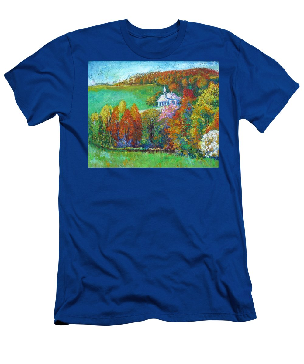 Fall T-Shirt featuring the painting Fall Scene by Meihua Lu