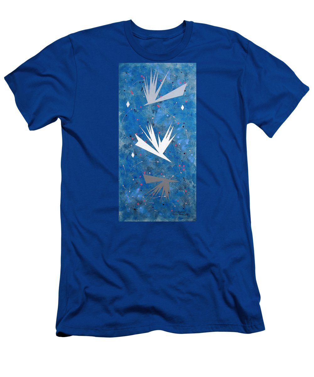 Birds And Diamond Stars Men's T-Shirt (Athletic Fit) featuring the painting Feeding Frenzy by J R Seymour