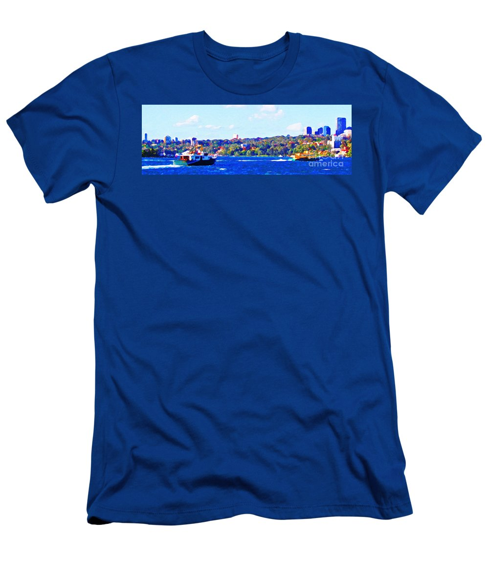 Ferry Men's T-Shirt (Athletic Fit) featuring the photograph Ferries In The Harbor by Steve C Heckman