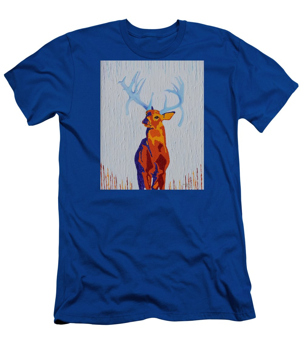 Deer Men's T-Shirt (Athletic Fit) featuring the painting Fire And Ice by Belinda Nagy