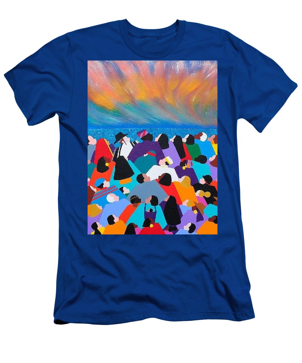 Obama Men's T-Shirt (Athletic Fit) featuring the painting Fire Rainbow Obama by Synthia SAINT JAMES