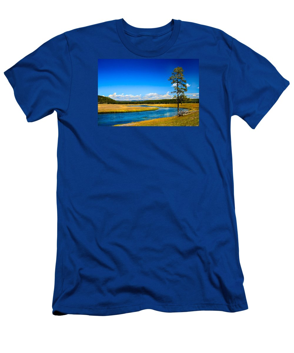 River Men's T-Shirt (Athletic Fit) featuring the photograph Firehole River by Robert Bales