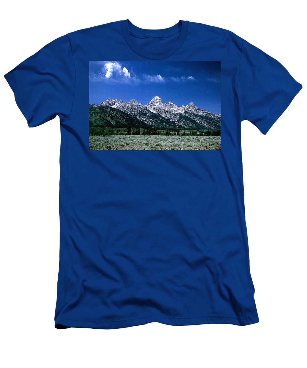Mountains Men's T-Shirt (Athletic Fit) featuring the photograph First View Of Tetons by Kathy McClure