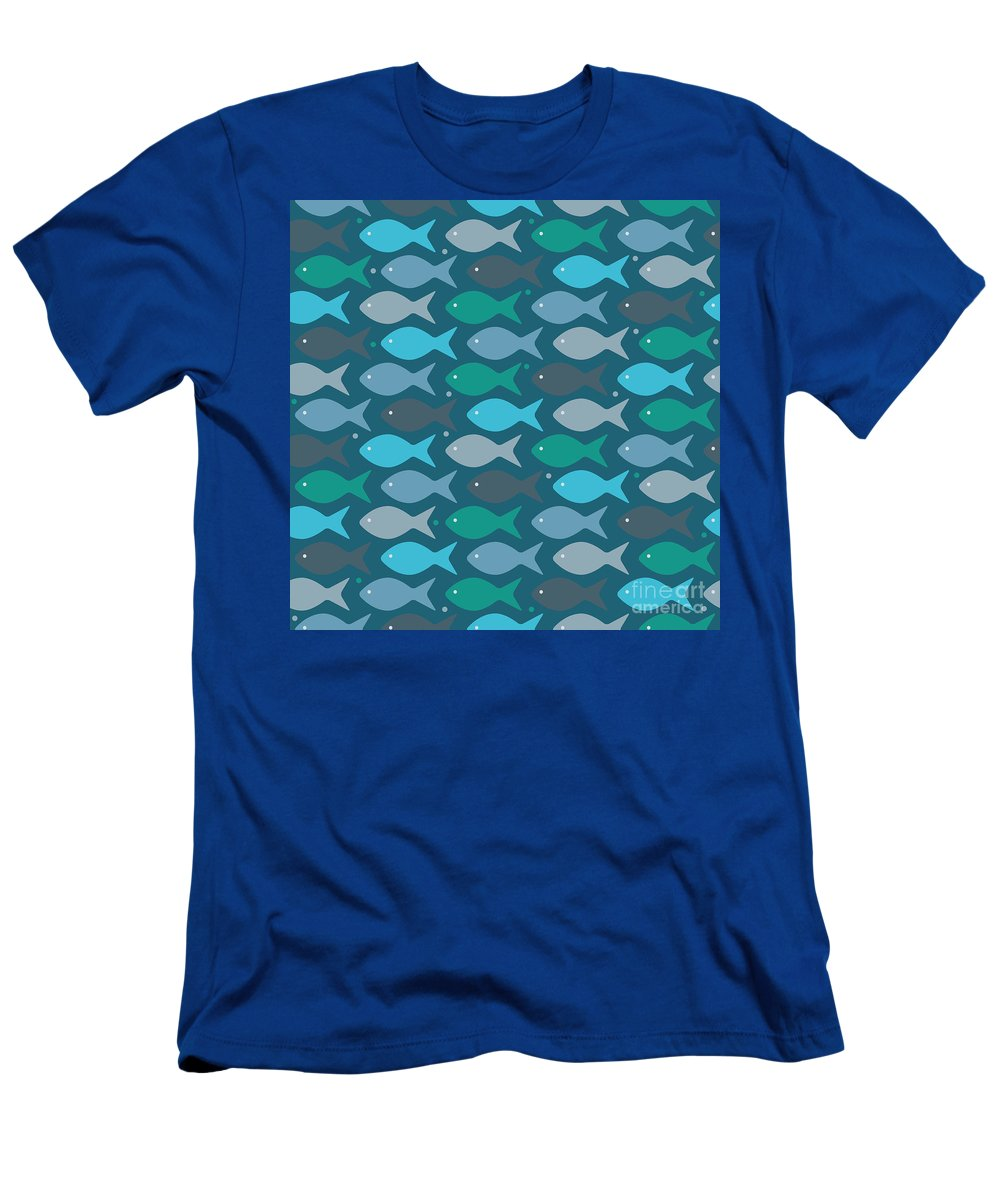 Dolphins T-Shirt featuring the digital art Fish Blue by Mark Ashkenazi