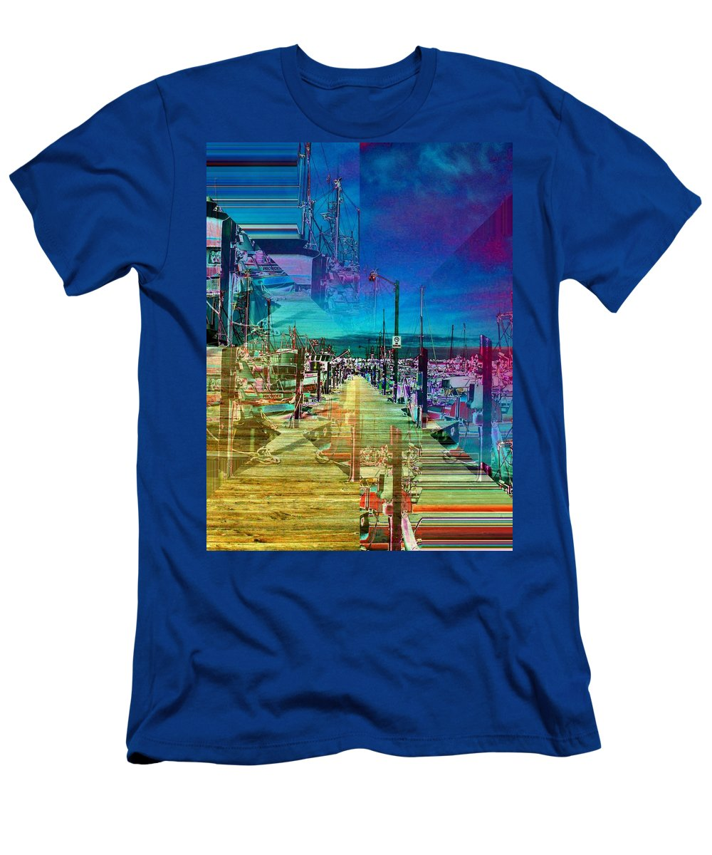 Seattle Men's T-Shirt (Athletic Fit) featuring the digital art Fishermans Terminal Pier 2 by Tim Allen