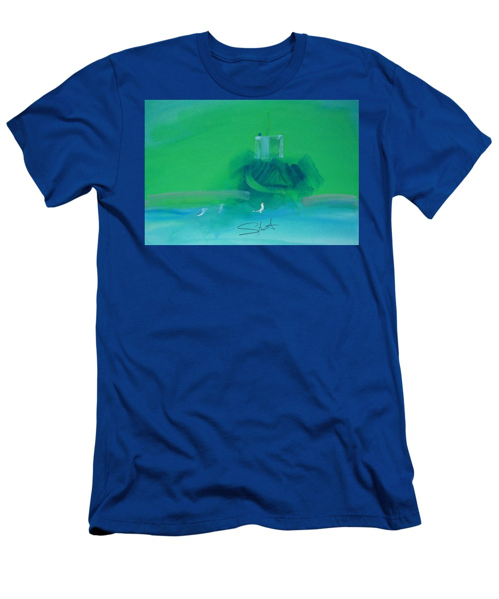 Fishing Boat Men's T-Shirt (Athletic Fit) featuring the painting Fishing Boat With Seagulls by Charles Stuart
