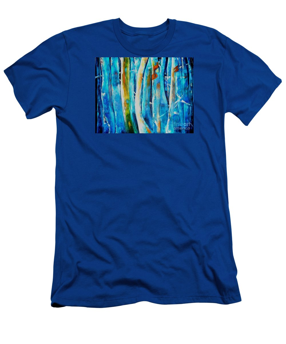 Blue Forest Men's T-Shirt (Athletic Fit) featuring the painting Floresta Azul by Fernanda Cruz
