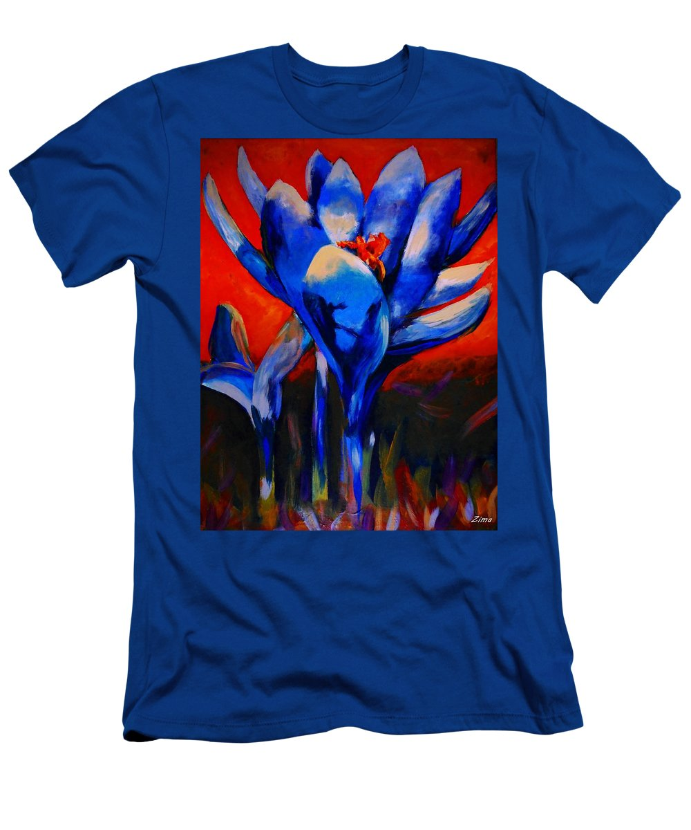 Autumn Men's T-Shirt (Athletic Fit) featuring the painting Flower Of My Heart by Karen Zima