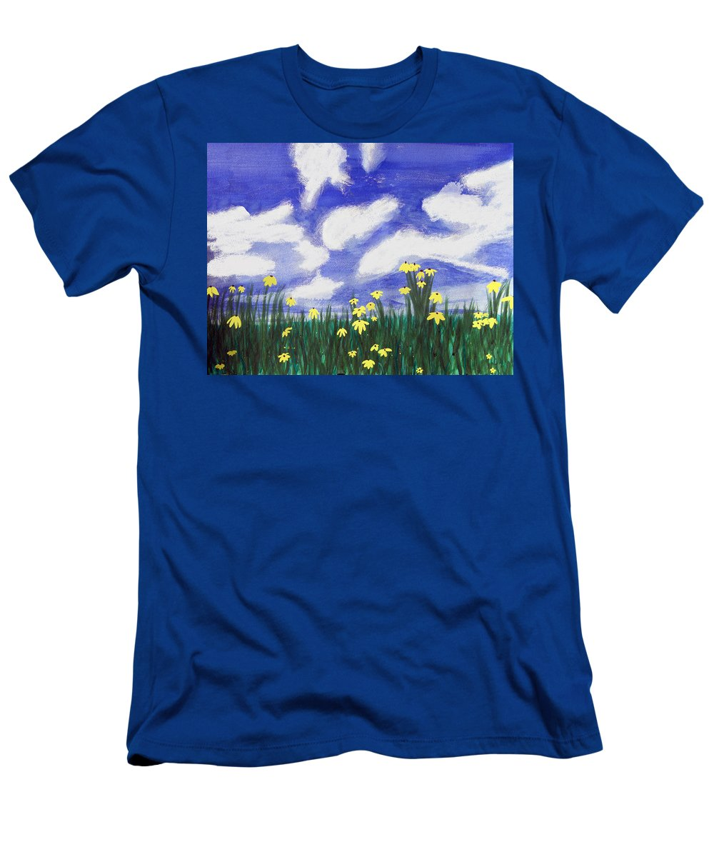 Acrylic Men's T-Shirt (Athletic Fit) featuring the painting Flowers Bright Field by Lee Serenethos