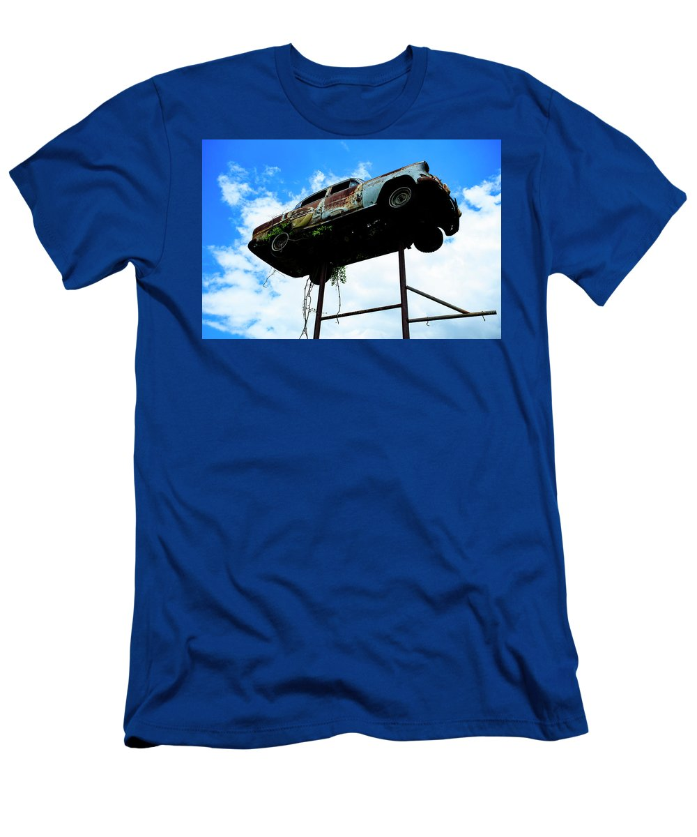 Driving The Random Backroads Of South Carolina I Found This Lovely Car Flying About. Men's T-Shirt (Athletic Fit) featuring the photograph Flying Car by Christine U Jones