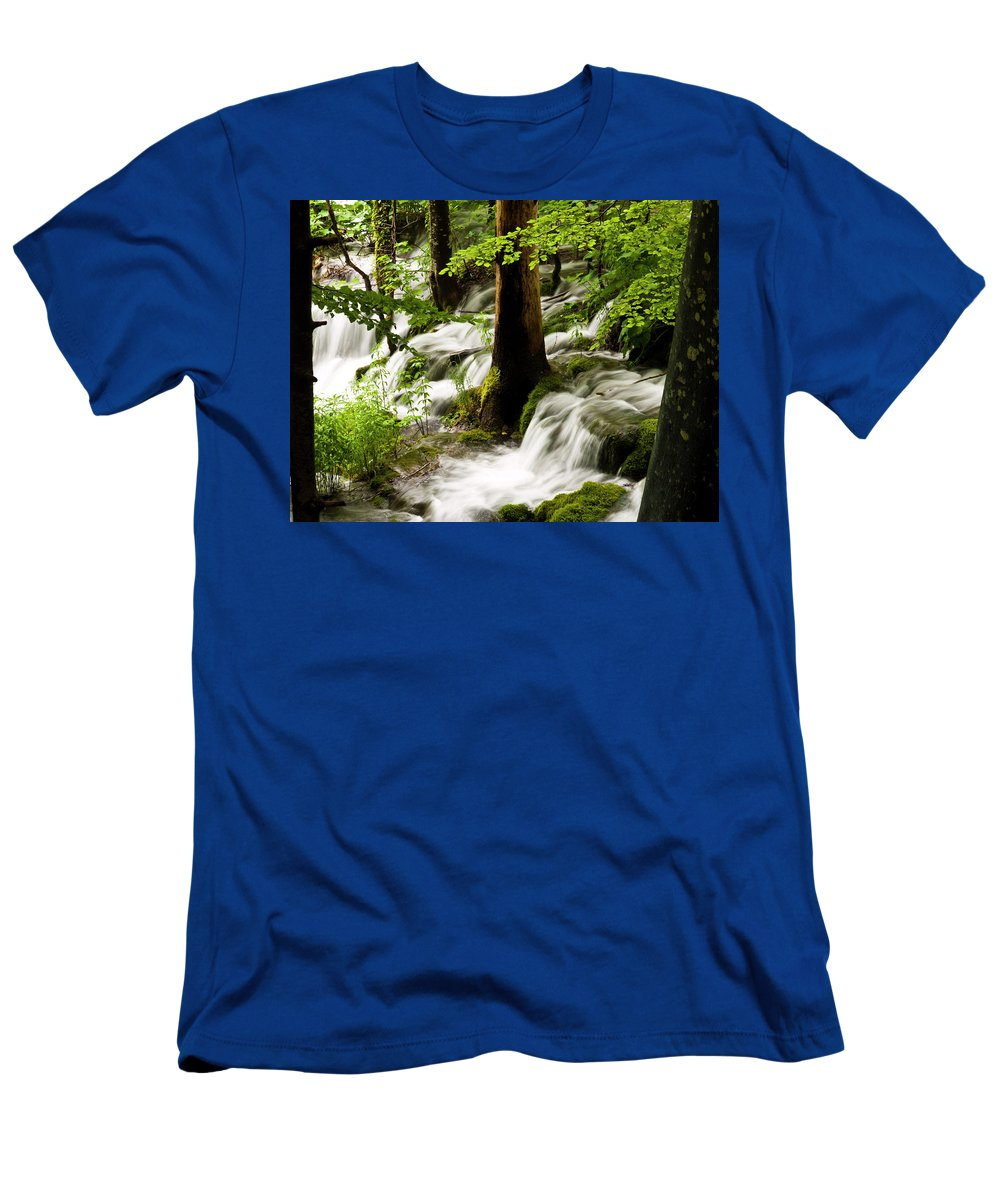 Plitvice Men's T-Shirt (Athletic Fit) featuring the photograph Forest Flows by Rae Tucker