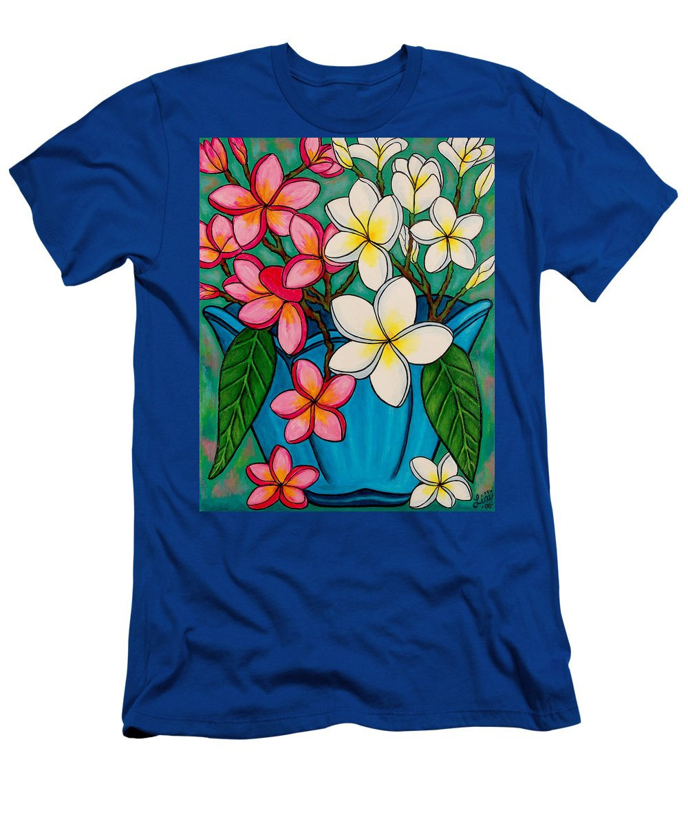 Frangipani Men's T-Shirt (Athletic Fit) featuring the painting Frangipani Sawadee by Lisa Lorenz