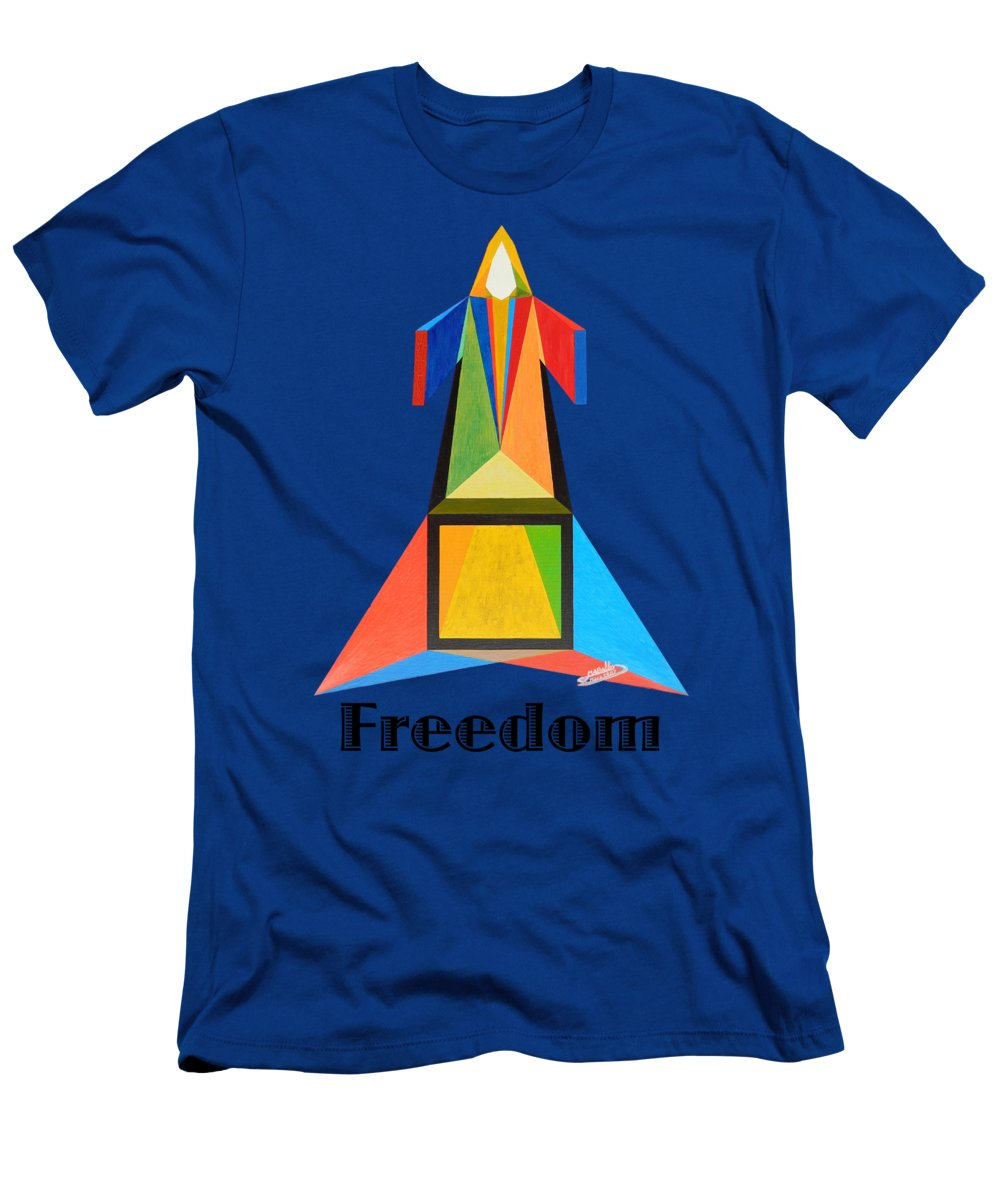 Painting T-Shirt featuring the painting Freedom text by Michael Bellon