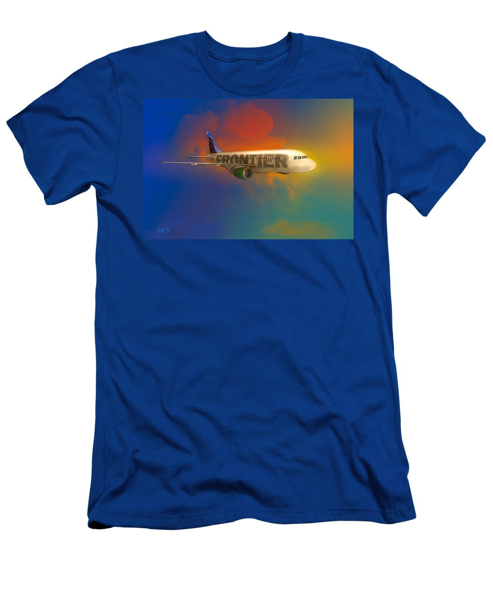 Airlines Men's T-Shirt (Athletic Fit) featuring the digital art Frontier Airbus A-319 by J Griff Griffin