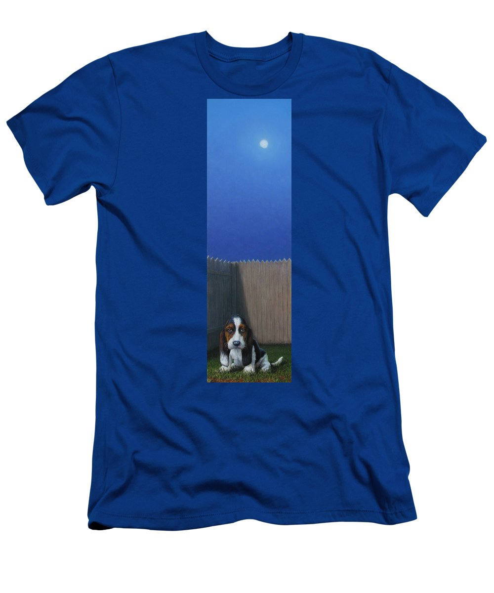 Puppy Men's T-Shirt (Athletic Fit) featuring the painting Full Moon by James W Johnson