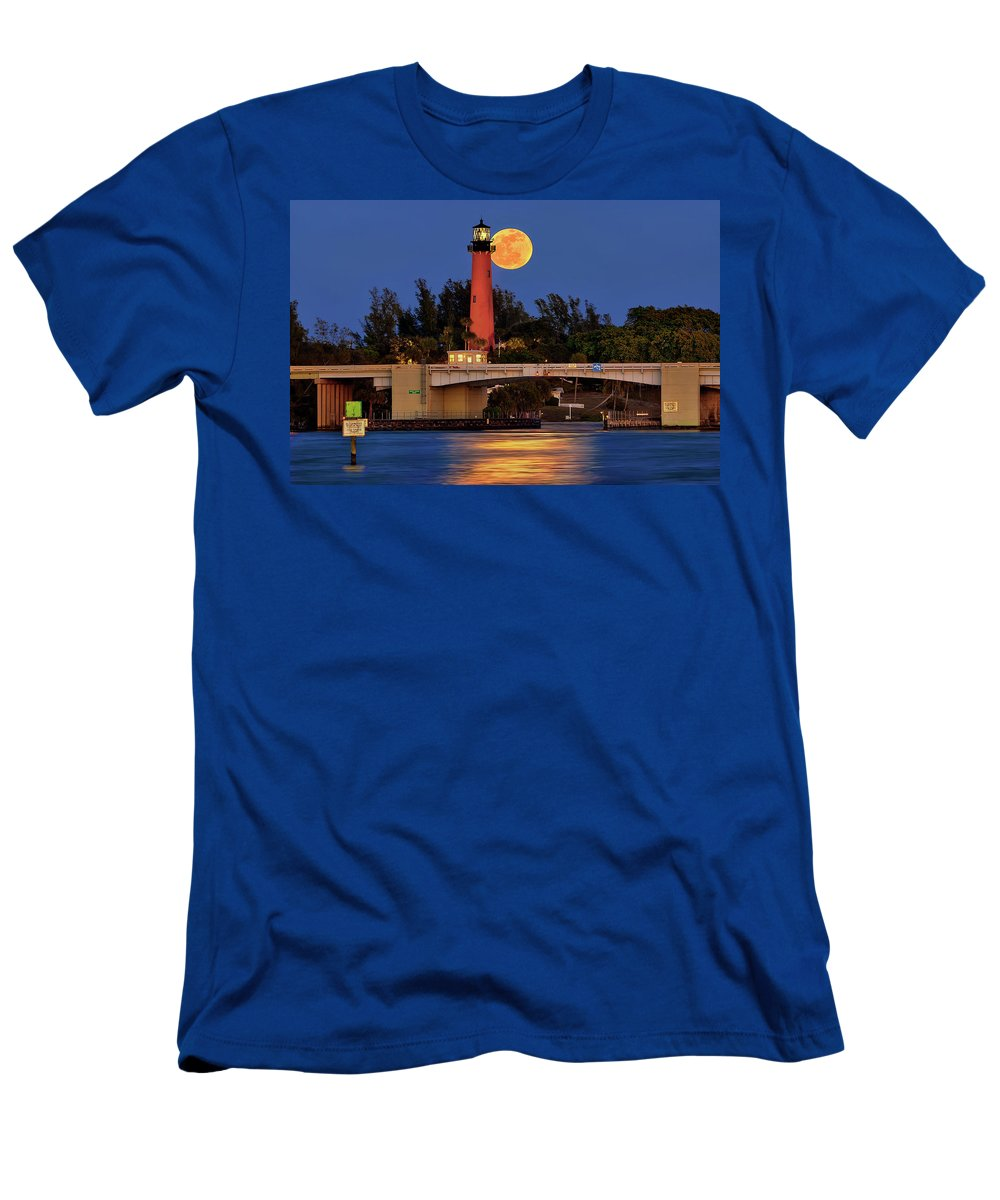 Jupiter Lighthouse Men's T-Shirt (Athletic Fit) featuring the photograph Full Moon Over Jupiter Lighthouse, Florida by Justin Kelefas