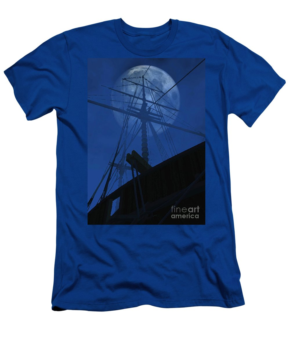 Ghost Ship Men's T-Shirt (Athletic Fit) featuring the digital art Ghost Ship by Richard Rizzo
