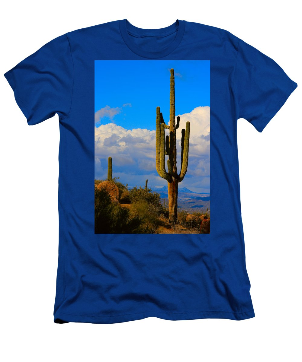 Saguaro Men's T-Shirt (Athletic Fit) featuring the photograph Giant Saguaro In The Southwest Desert by James BO Insogna