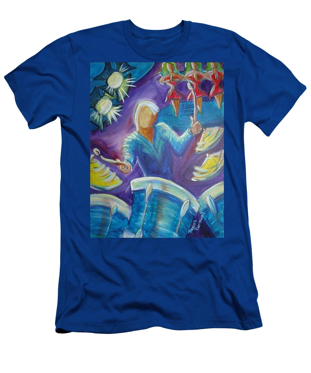 Jazz Men's T-Shirt (Athletic Fit) featuring the painting Give Me A Beat by Regina Walsh
