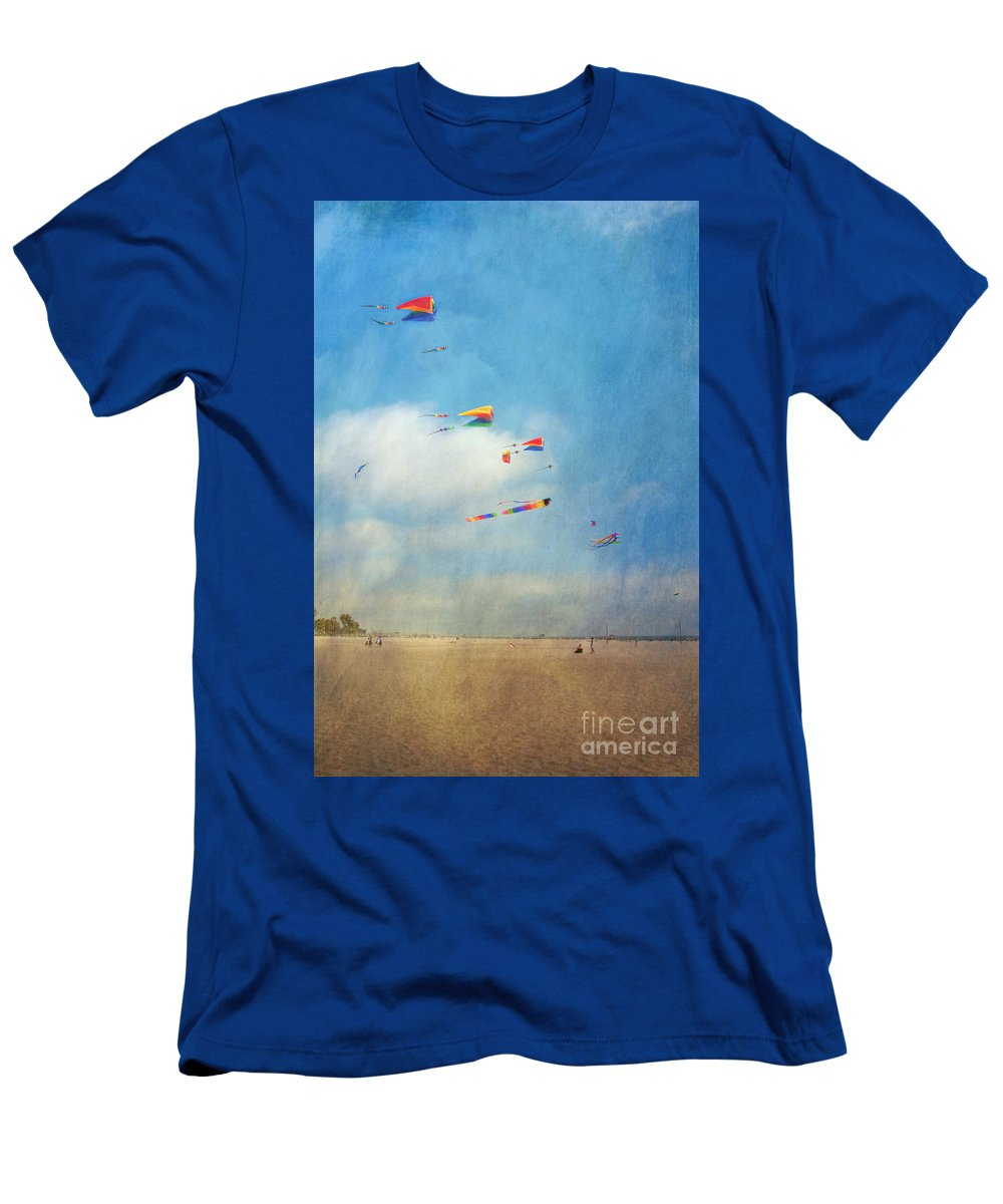 Go Fly A Kite Sand Windy Day Beach Men's T-Shirt (Athletic Fit) featuring the photograph Go Fly A Kite by David Zanzinger