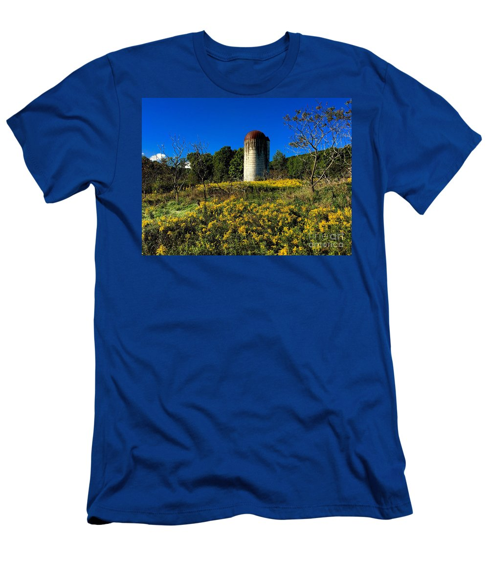 Silo Men's T-Shirt (Athletic Fit) featuring the photograph Goldenrod Surrounded Silo by John Donnery
