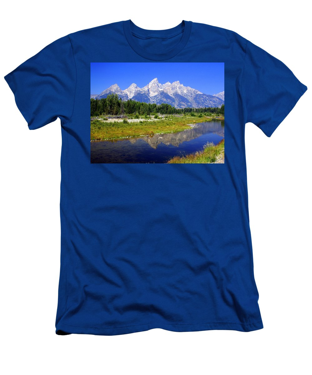 Grand Teton National Park Men's T-Shirt (Athletic Fit) featuring the photograph Grand Tetons by Marty Koch