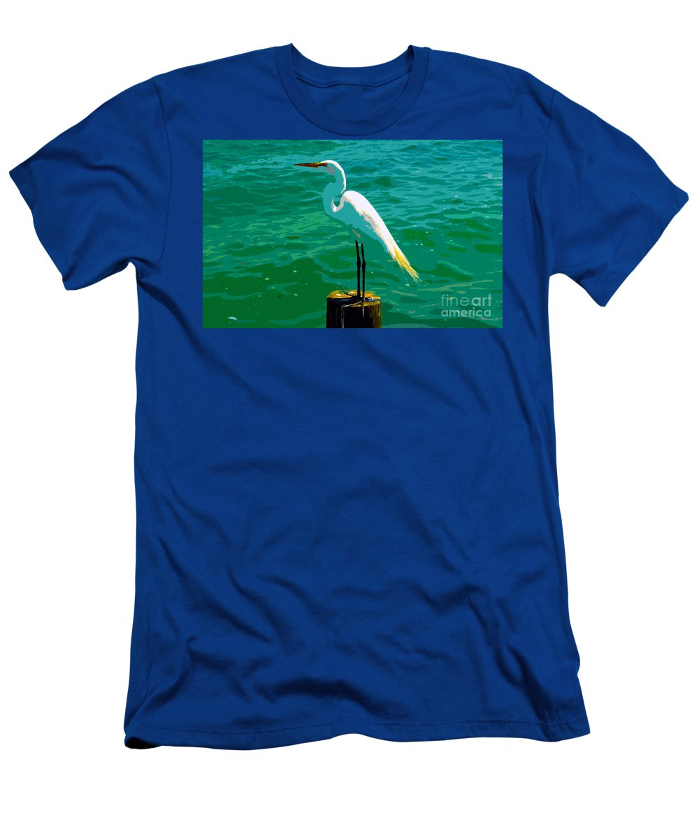 Great Egret Men's T-Shirt (Athletic Fit) featuring the painting Great Egret Emerald Sea by David Lee Thompson