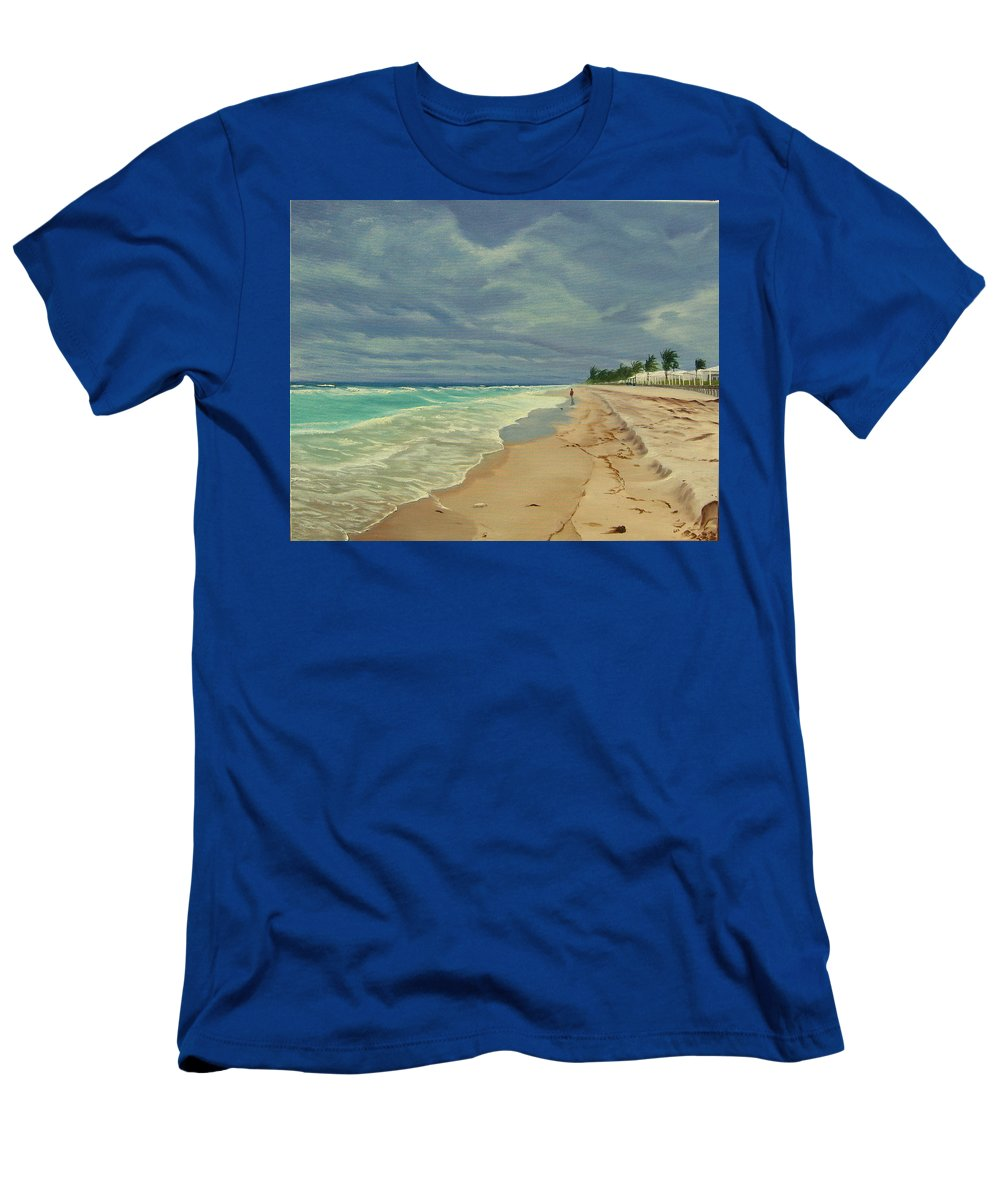 Beach T-Shirt featuring the painting Grey Day on the Beach by Lea Novak