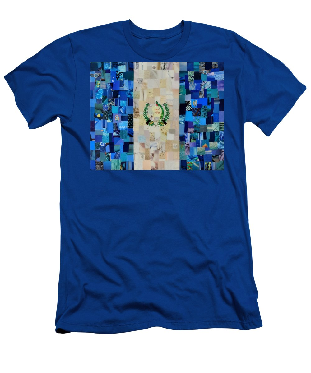 Guatemala Flag Men's T-Shirt (Athletic Fit) featuring the mixed media Guatemala Flag by Claudia Di Paolo