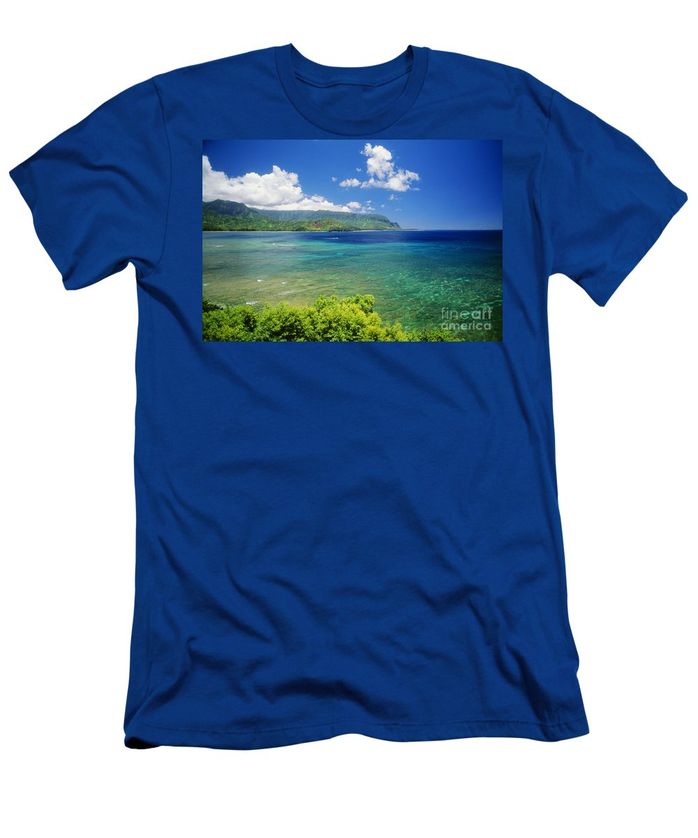 Afternoon Men's T-Shirt (Athletic Fit) featuring the photograph Hanalei Bay And Bali Hai by Allan Seiden - Printscapes