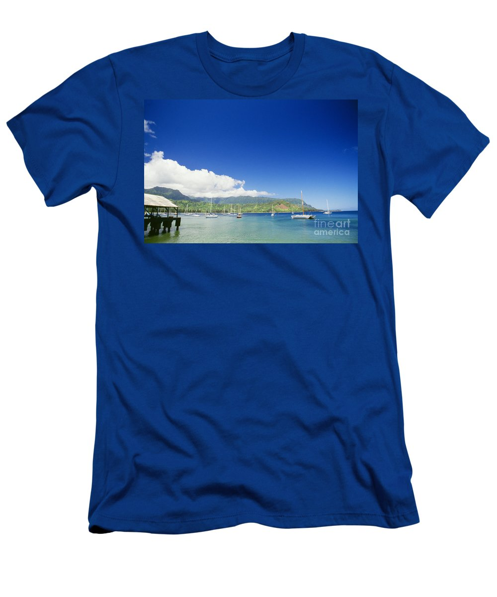 Bali Hai Men's T-Shirt (Athletic Fit) featuring the photograph Hanalei Bay Coastline by Peter French - Printscapes