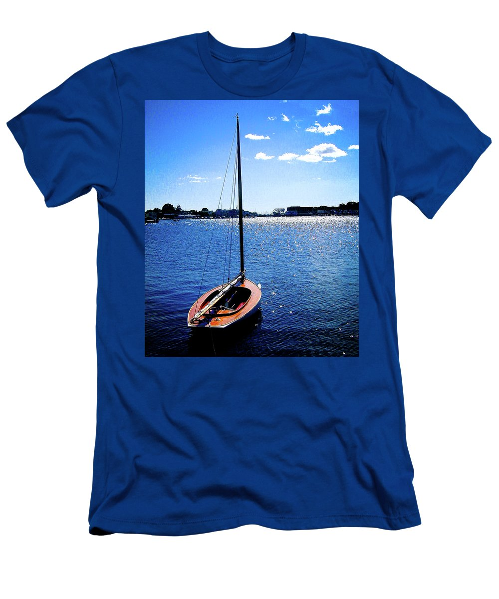 Mystic Seaport Men's T-Shirt (Athletic Fit) featuring the photograph Harbor View 2 by Gary Adkins