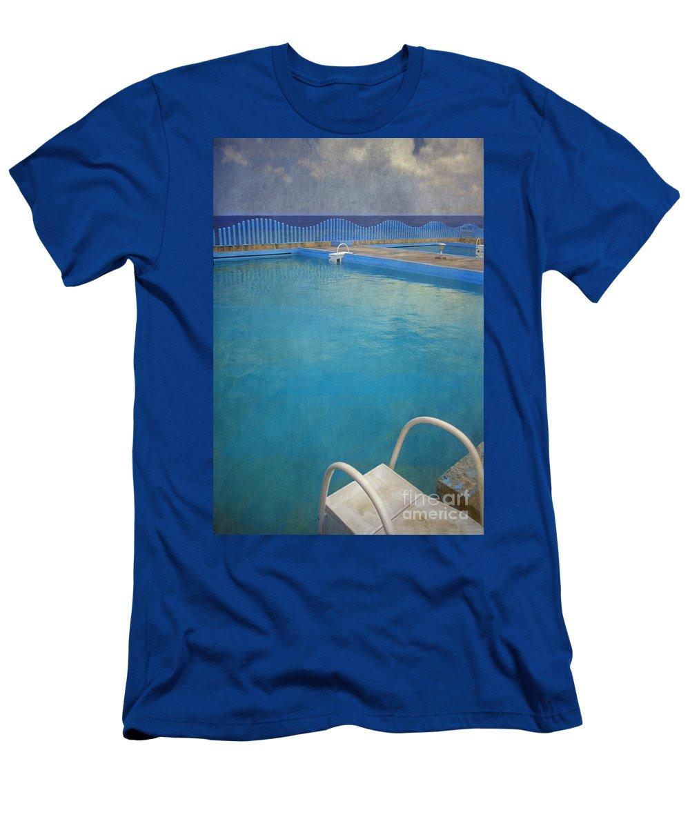 Havana Men's T-Shirt (Athletic Fit) featuring the photograph Havana Cuba Swimming Pool And Ocean by David Zanzinger